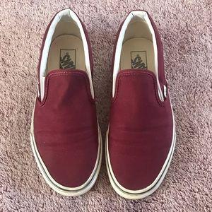 Maroon Vans Slip Ons